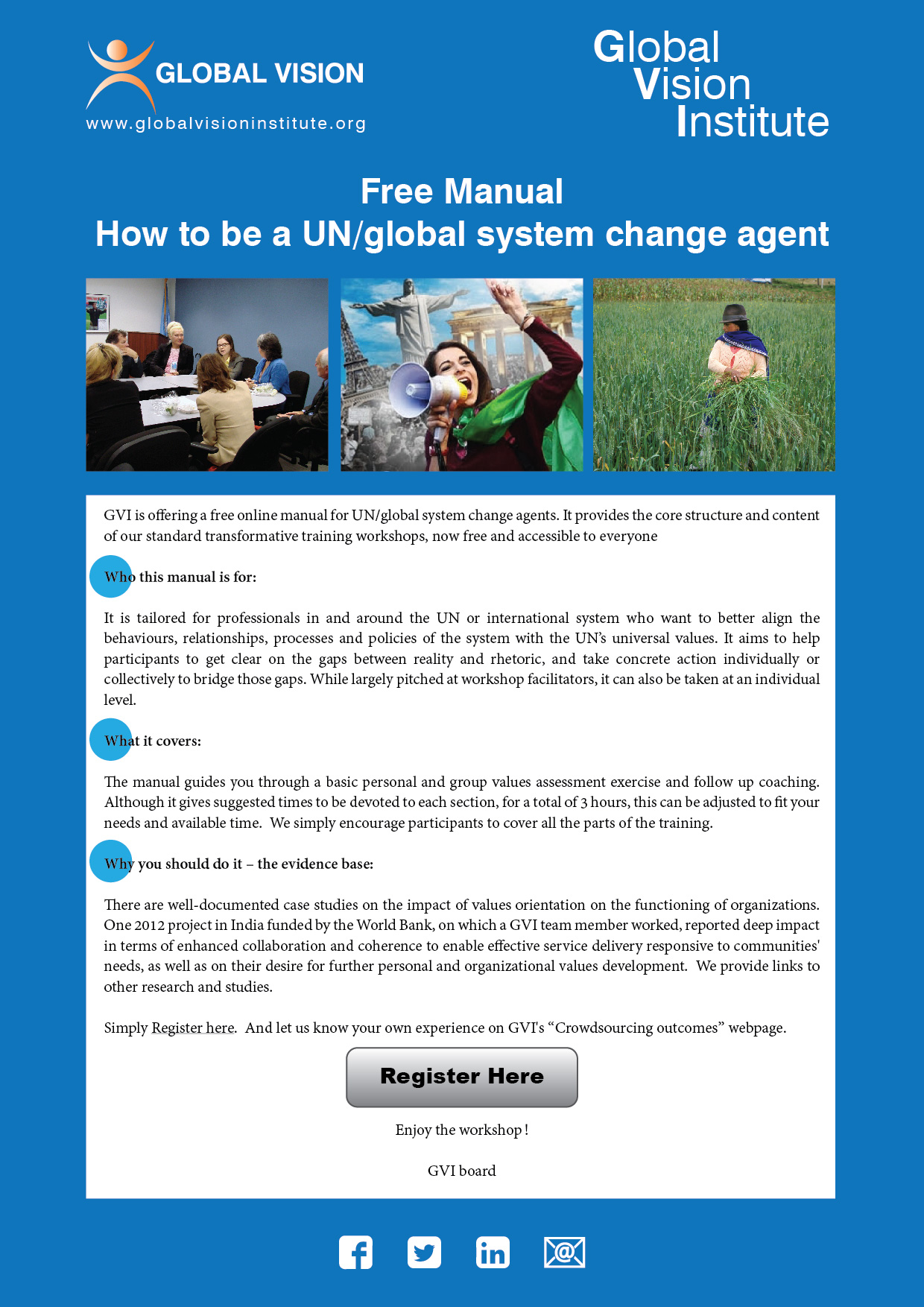 Webinars and Manual: How to be a UN change agent - Global Vision